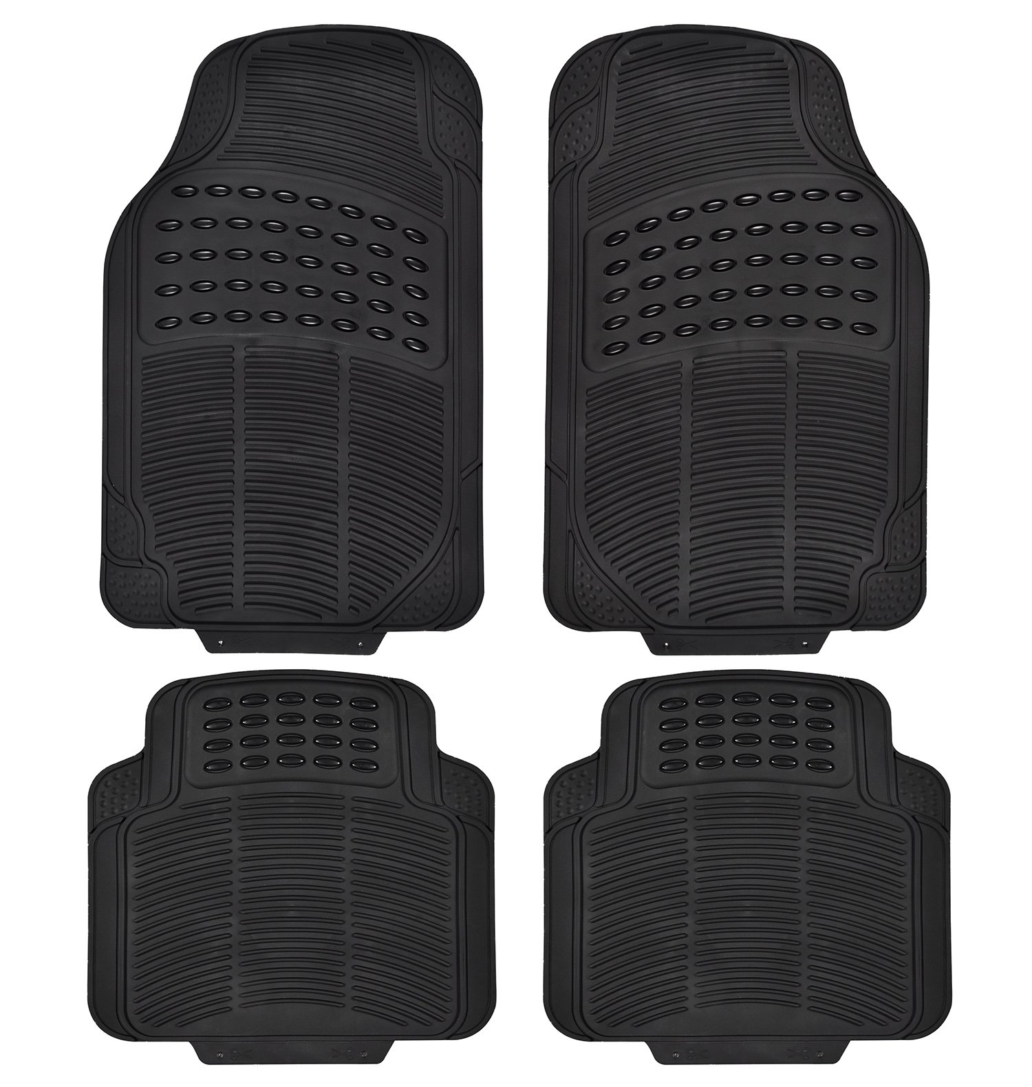 Heavy Duty Rubber Floor Mats for Cars Floor&Rear Rubber Mats All Weather Protection Universal Car Truck Suv Black (Black)