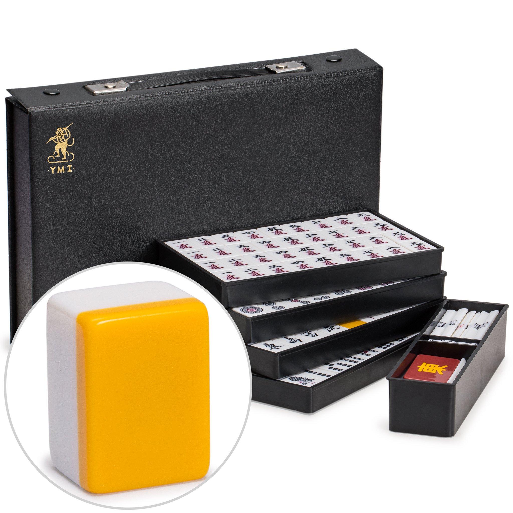 Yellow Mountain Imports Japanese Riichi Mahjong (Mah Jong, Mahjongg, Mah-Jongg, Mah Jongg, Majiang) Set with White Tiles