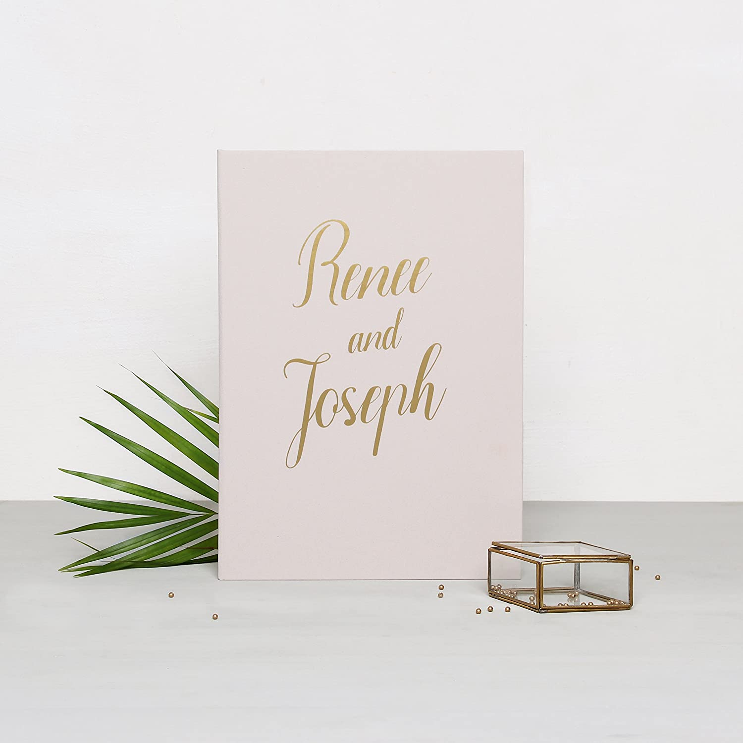 Wedding Album Guest Book Cream With Gold Lettering, Instax picture album by Liumy