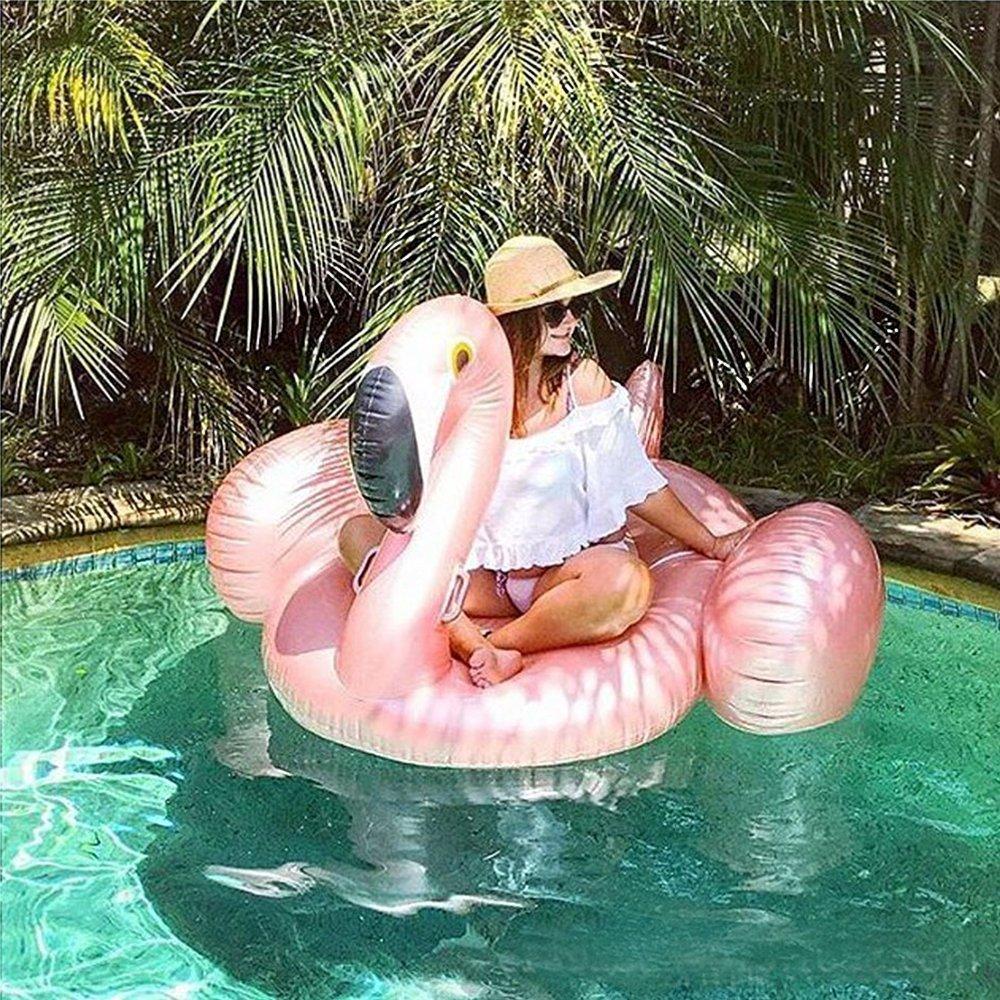 Mystery/&Melody Giant Flamingo Pool Float Inflable Piscina al aire libre Flotador Balsa Lounger flotante Sal/ón de juguetes para adultos Ni/ños