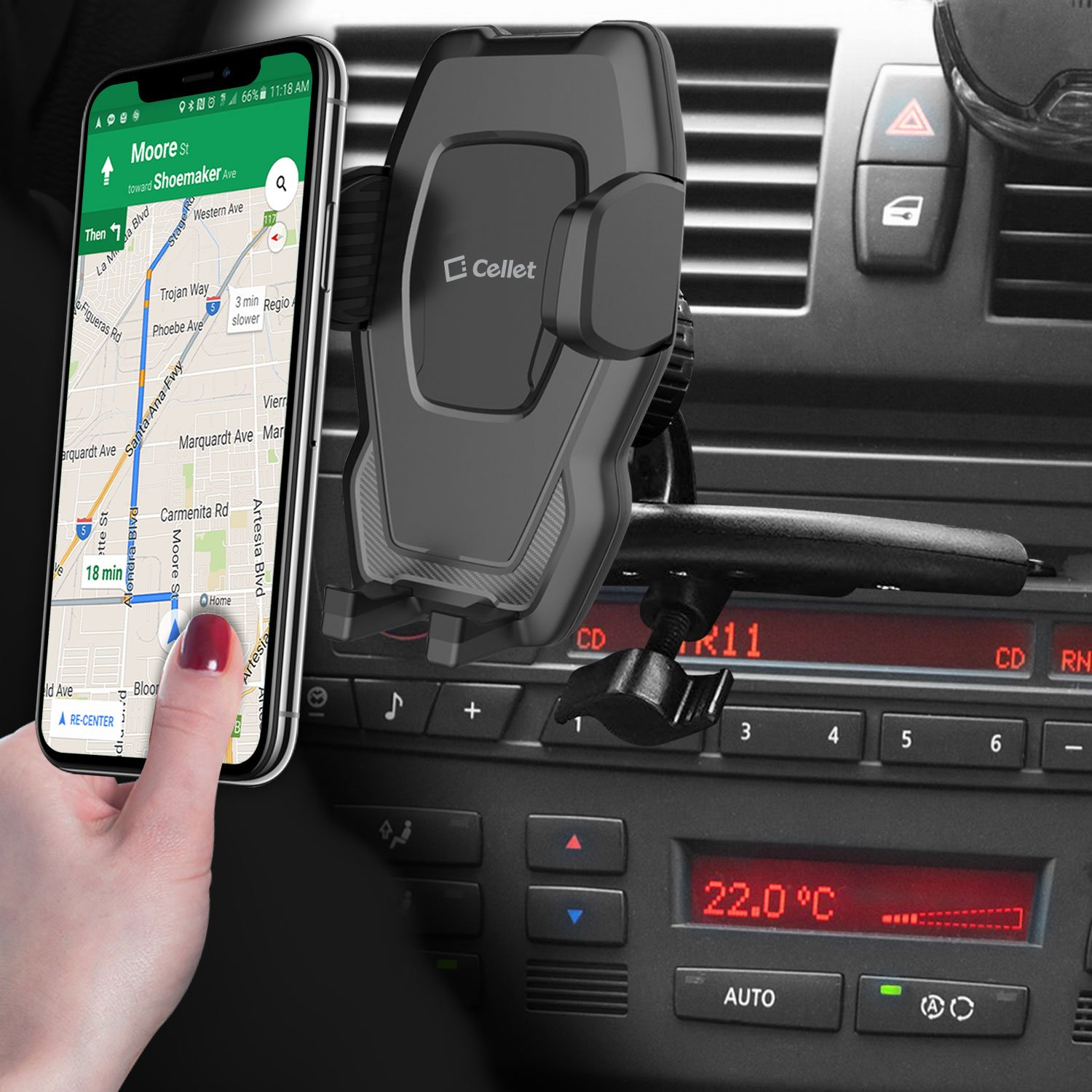 Cellet CD Slot Phone Holder Cradle Mount with Three-Side Grips and One-Touch Design Compatible for ZTE Avid 4//Majesty Pro//Plus//Maven 3//Overture 3//Prelude+//Blade X//Axon M//Fanfare 3//Blade Force//Vantage