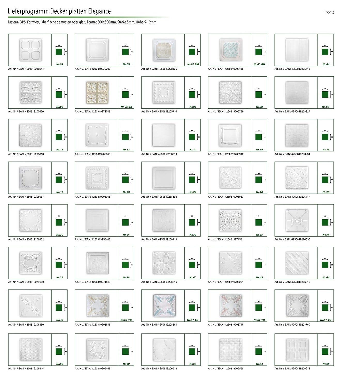 33 N Pacco risparmio per soffitto Pannelli di polistirolo soffitto parete 50/x 50/cm