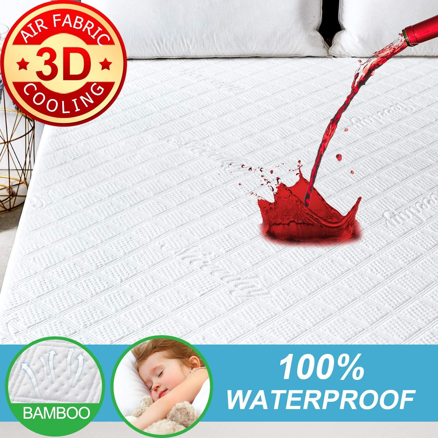 Organic Mattress Protector Queen, Cooling Bamboo Waterproof Mattress Protector -Ultra Soft 3D Air Fabric Mattress Pad Cover Hypoallergenic Waterproof Sheets - Noiseless Mattress Protector Vinyl Free