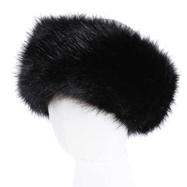 Faux Fur Headband with Elastic for Womens Winter Earwarmer Earmuff Black )  SYHB001-P db9883d233d