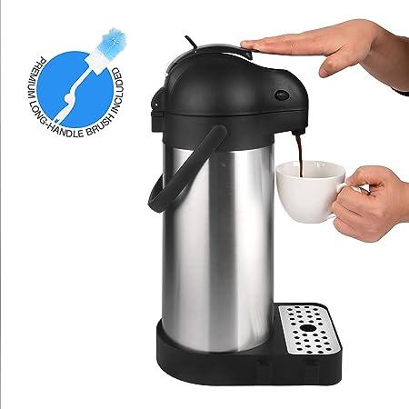 Cresimo Jarra térmica de café con bandeja de goteo de café y cepillo de limpieza/palanca de acero inoxidable aislado térmico/12 horas de calor y retención de frío: Amazon.es: Hogar