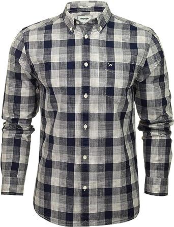 Wrangler Camisa de cuadros de manga larga con botones para hombre: Amazon.es: Ropa y accesorios