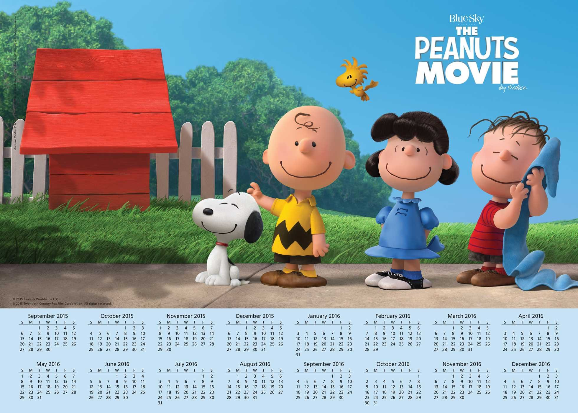 Peanuts Movie 2015-2016 16-Month Calendar Poster: September 2015 through December 2016 PDF