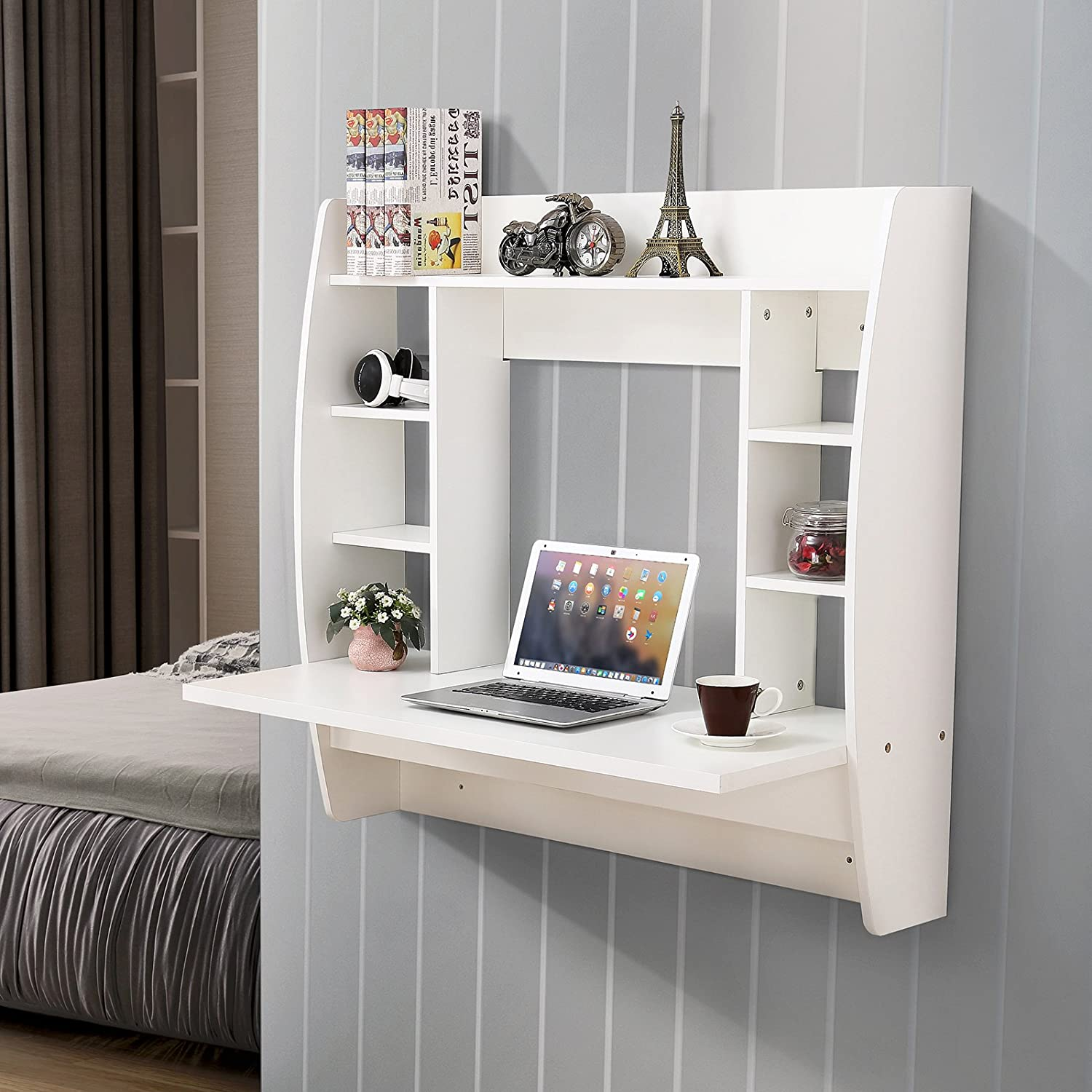 Amazon Mecor Floating Desk with Storage Wall Mounted Design for