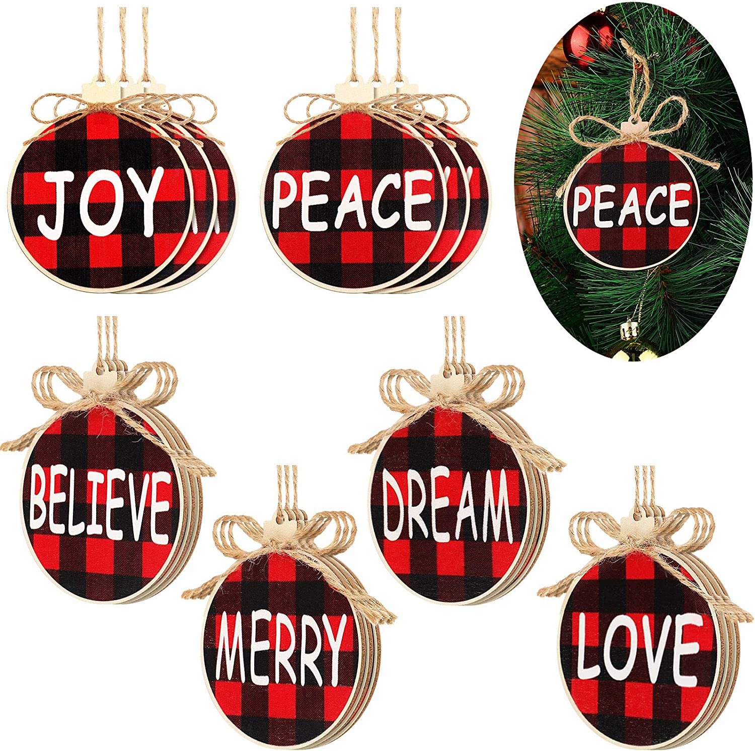 18 Pieces Christmas Wooden Ornaments Set Buffalo Plaid Christmas Hanging Decorations Hanging Crafts Wooden Tags for Xmas Trees Doors Bells 6 Styles Joy Believe Peace Merry Dream Love