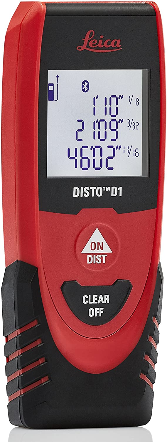 Leica DISTO D1 120ft Laser Distance Measure with Bluetooth 4.0, Black/Red