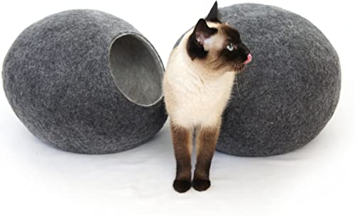 Kivikis Cat Bed, House, Cave, Nap Cocoon, Igloo, 100 Handmade from Sheep Wool XL 17-26 pounds cat, Dark Gray