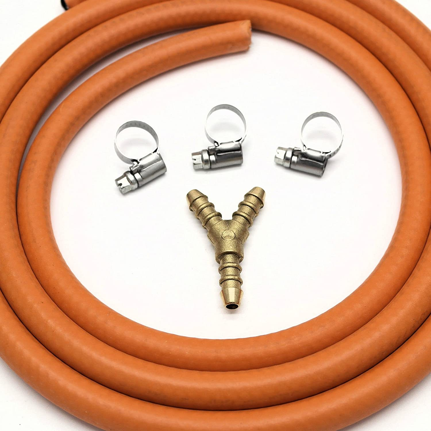 3 WAY Y CONNECTOR SPLITTER KIT WITH 2mt 8mm I/D GAS HOSE & 3 CLIPS Unbranded