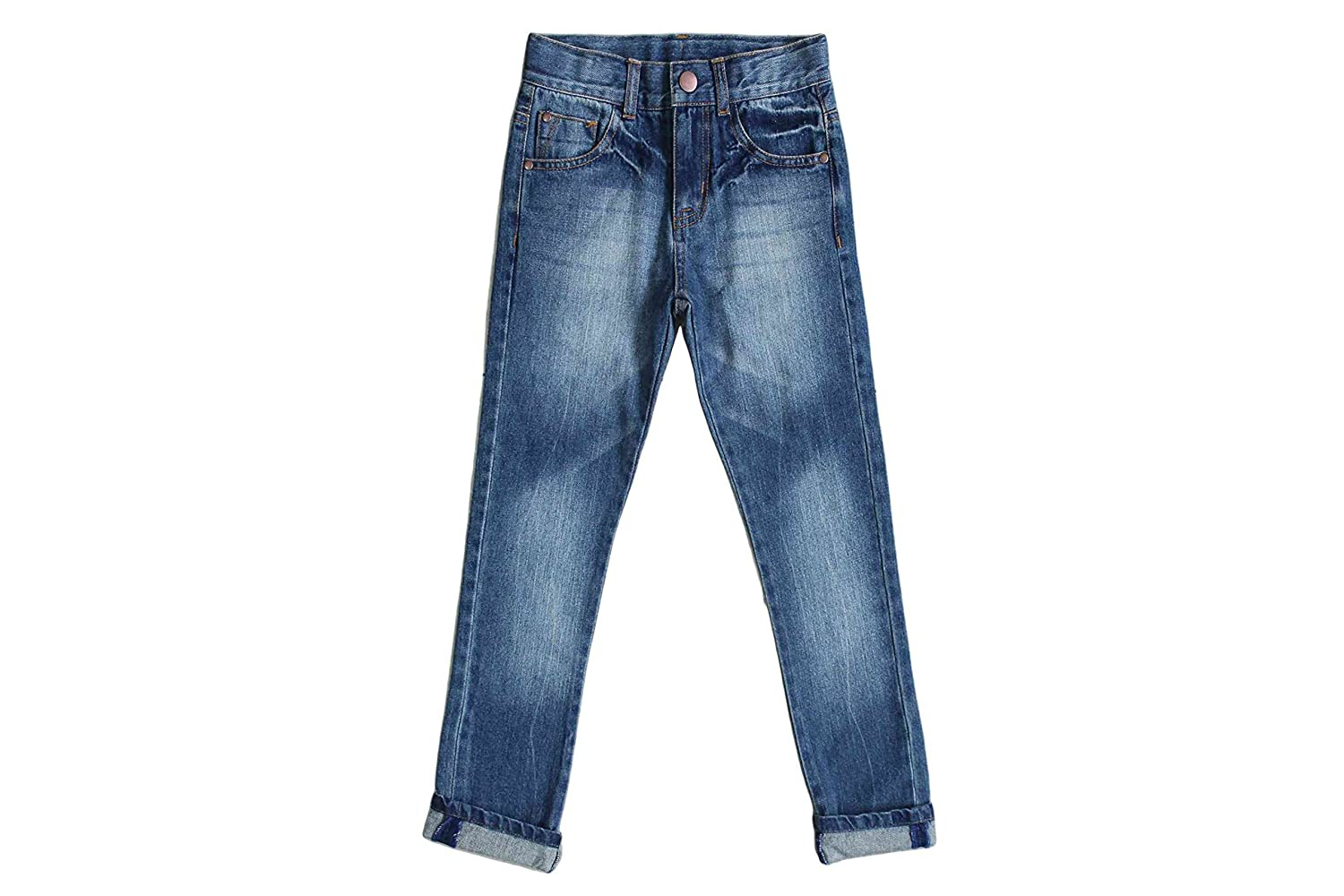 Bienzoe Little Boy's Stretchy Denim Jeans Elastic Waist Trouser