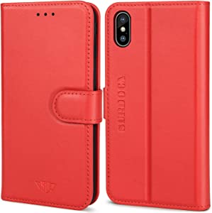 iPhone X Leather Wallet Case - SURDOCA iPhone XS Leather Wallet Case, Handmade Premium Real Genuine Cowhide Magnetic Folio RFID Credit Card Holder Flip Men Women Magnet Apple Cell Phone Book Cover Red