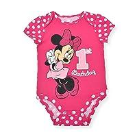 Baby Girl's Minnie Mouse Short Sleeve First Birthday Bodysuit Onesie