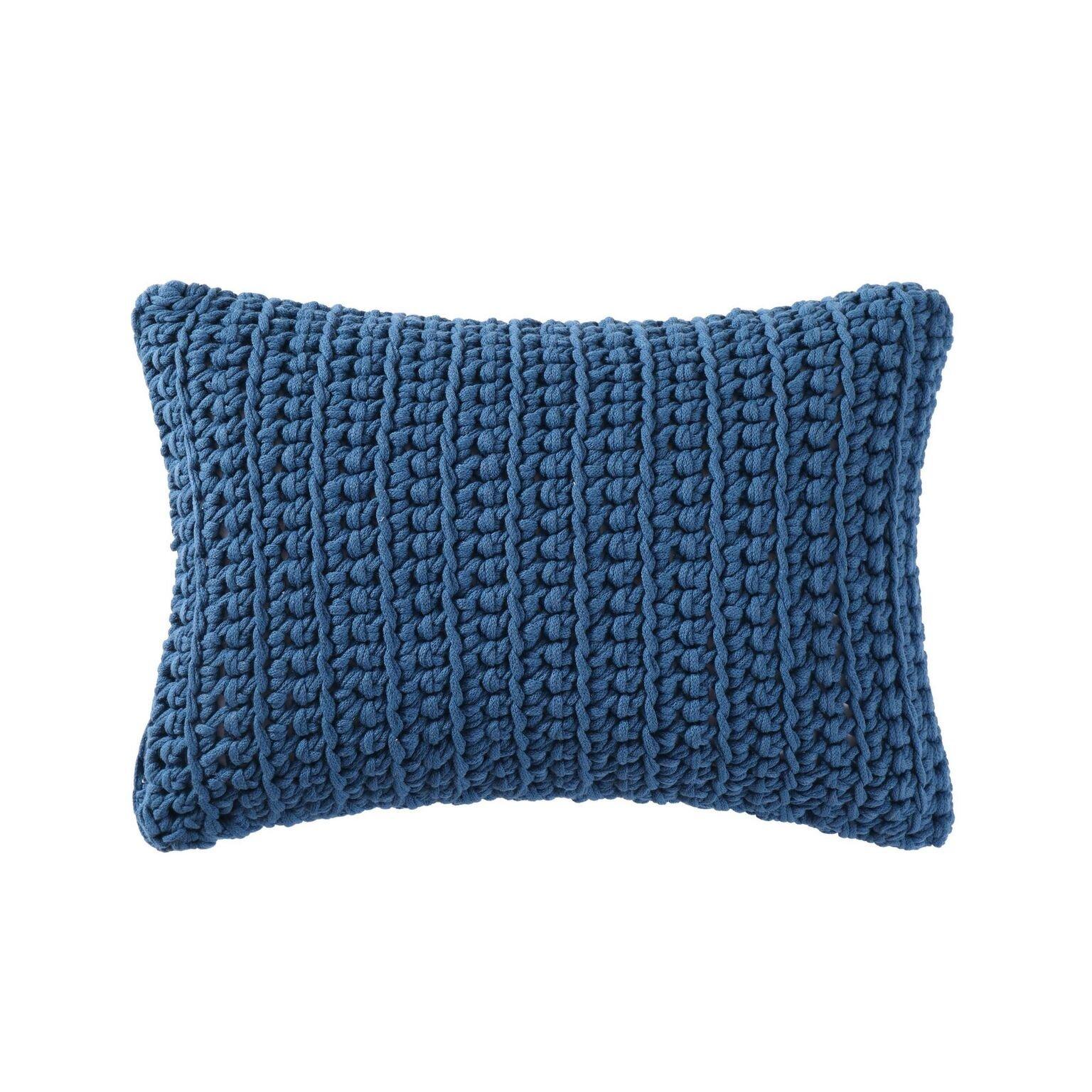 Brooklyn Loom Chambray Loft 14'' x 22'' Decorative Pillow in Aqua (Matches Blue Set), 14x22 Piillow