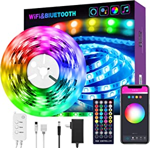 Smart LED Strip Lights 16.4 ft RGB Light Compatible with Alexa, Google Home, Music Sync Light Strips Bluetooth WiFi APP Remote Control for Bedroom Home TV