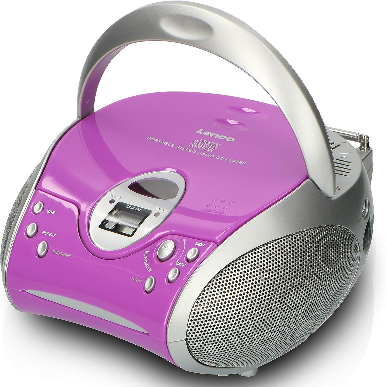 Lenco Scd24 Cd Player Für Kinder Cd Radio Stereoanlage Boombox Ukw Radiotuner Titel Speicher 2 X 1 5 W Rms Leistung Netz Und Batteriebetrieb Lila Heimkino Tv Video