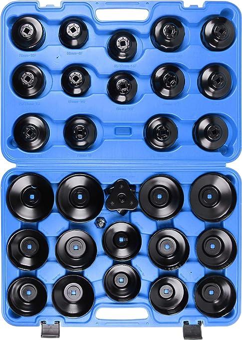 Llctools 31 Tlg Ölfilterschlüssel Kfz Set Zum Lösen Und Festziehen Von Ölfilterkartuschen Inkl Koffer Auto