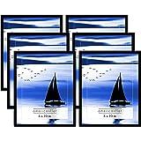 Americanflat 6 Marcos de Fotos Negros con caballetes | Muestra Fotos de 20 x 10 Pulgadas, Cristal sin Plomo, Accesorios…