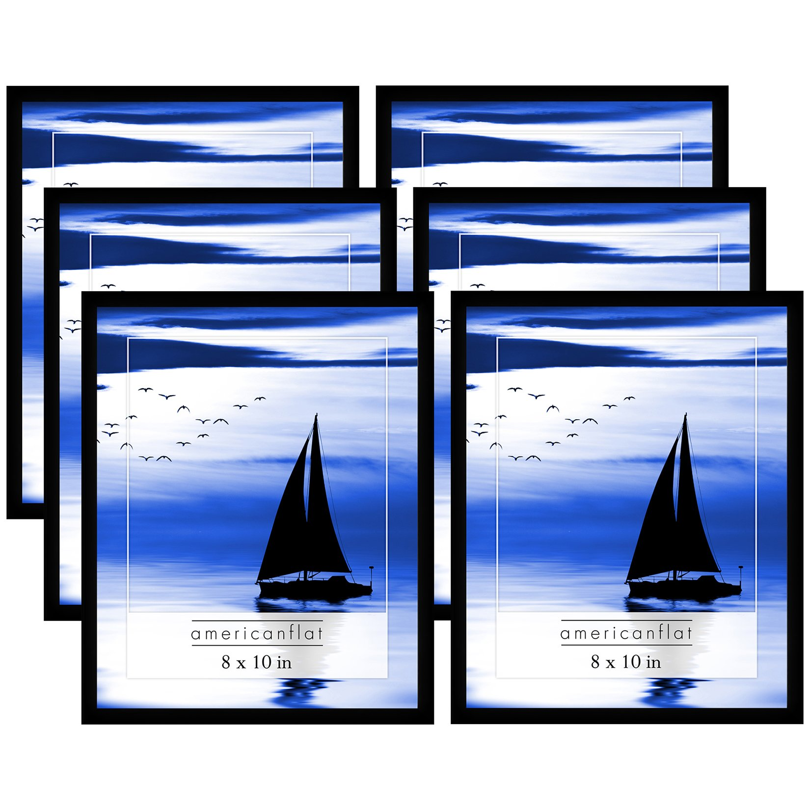 Americanflat 6 Pack - 8x10 Black Picture Frames with Glass Fronts by Americanflat