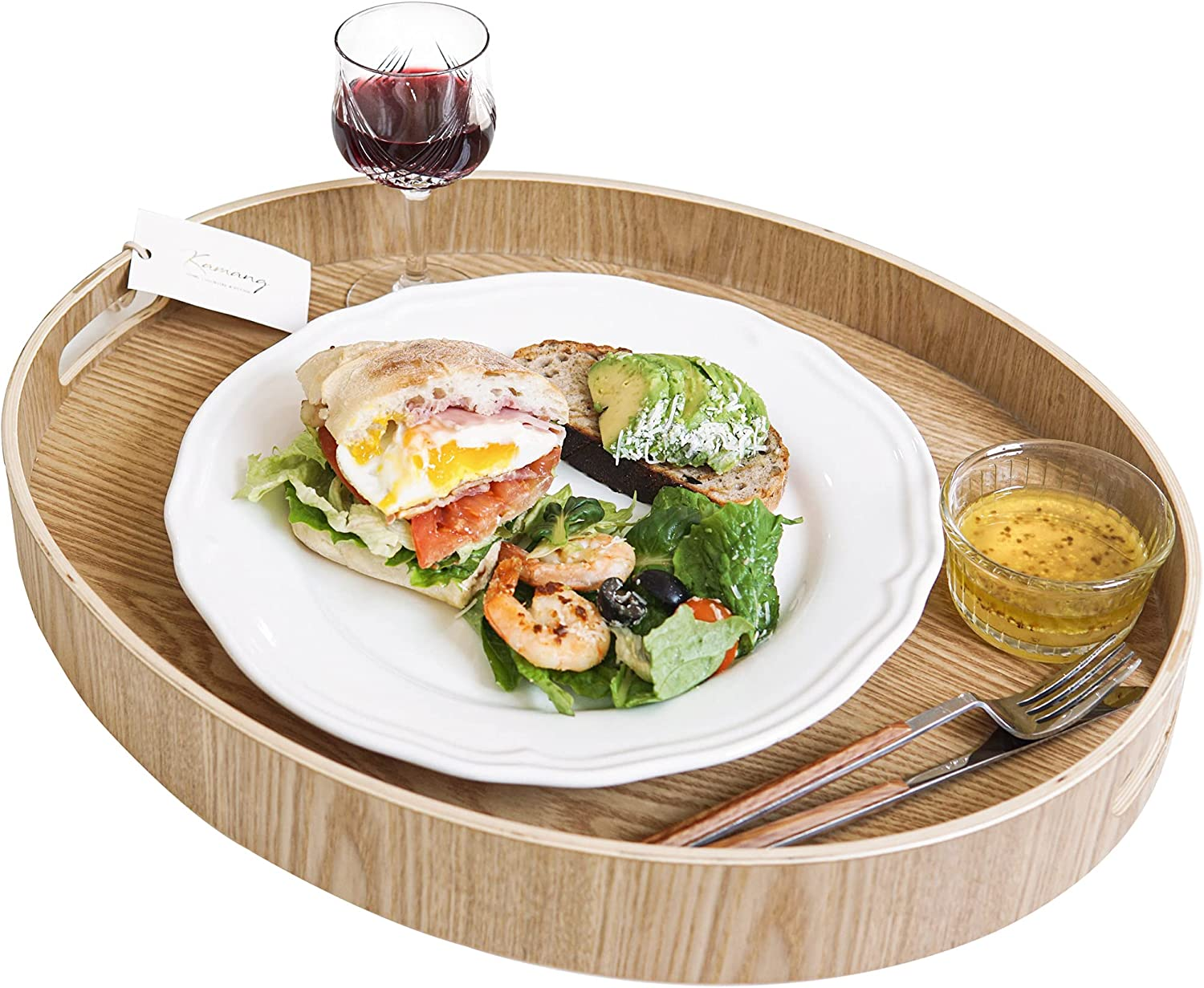 """Nonslip Wood Serving Tray with Handles for Serving Food and Drinks. 18"""" Oval Round Large Tray for Ottoman. Anti-Slip Food Serving Tray with Handles. Wooden Nonslip Food Serving Trays (18"""" Oval Round)"""