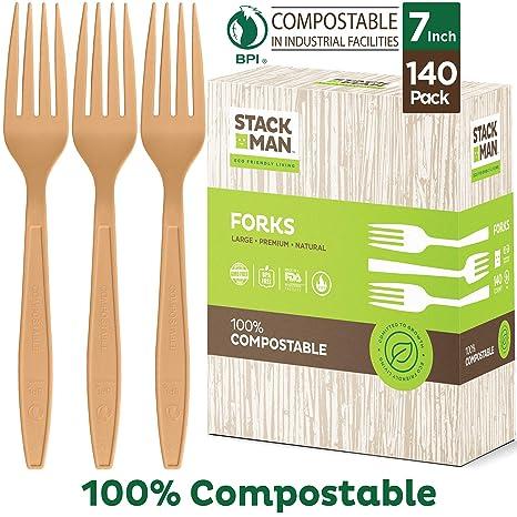 Amazon.com: Vajilla de madera natural, 140 unidades ...