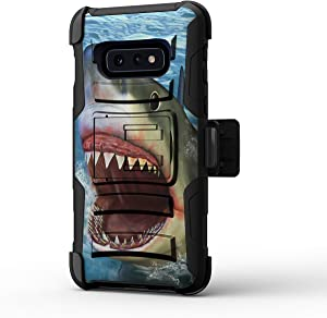 TurtleArmor | Compatible with Samsung Galaxy S10e Case | S10e Case | S10 Lite Case | G970 [Hyper Shock] Hybrid Reinforced Dual Layer Case Belt Clip Holster Stand Sea Ocean - Shark Attack