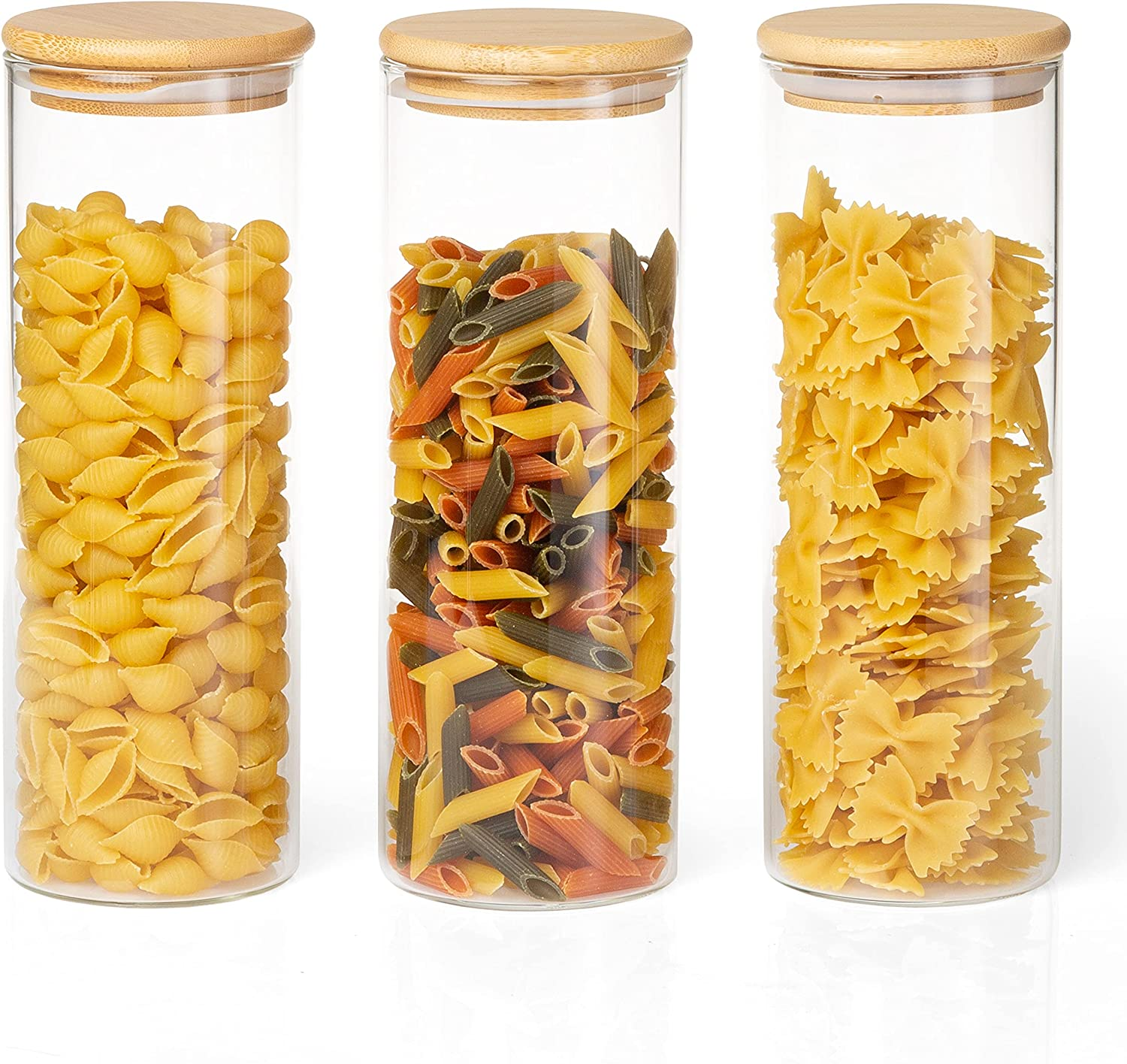 Crutello Glass Food Storage Containers with Bamboo Lids, 3 Pack - 32 Fluid oz Airtight Clear Kitchen Organization Canisters
