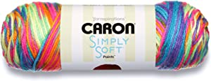 Caron Simply Soft Paints Yarn (4) Medium Worsted Gauge 100% Acrylic - 5oz - Rainbow Bright - Machine Wash & Dry