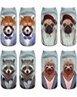 Danial Women Girls Funny Cute Novelty 3D Animals Pattern No Show Ankle Socks Value Pack Perfect