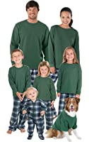 PajamaGram Flannel Tartan Plaid Matching Family Pajama Set, Green