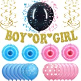 Gender Reveal Party Decorations Supplies - Real Gold Glitter Boy Or Girl Banner, Gender Reveal Balloon With Confetti - Ultimate 27 Piece Pink And Blue Baby Reveal Party Supplies Set