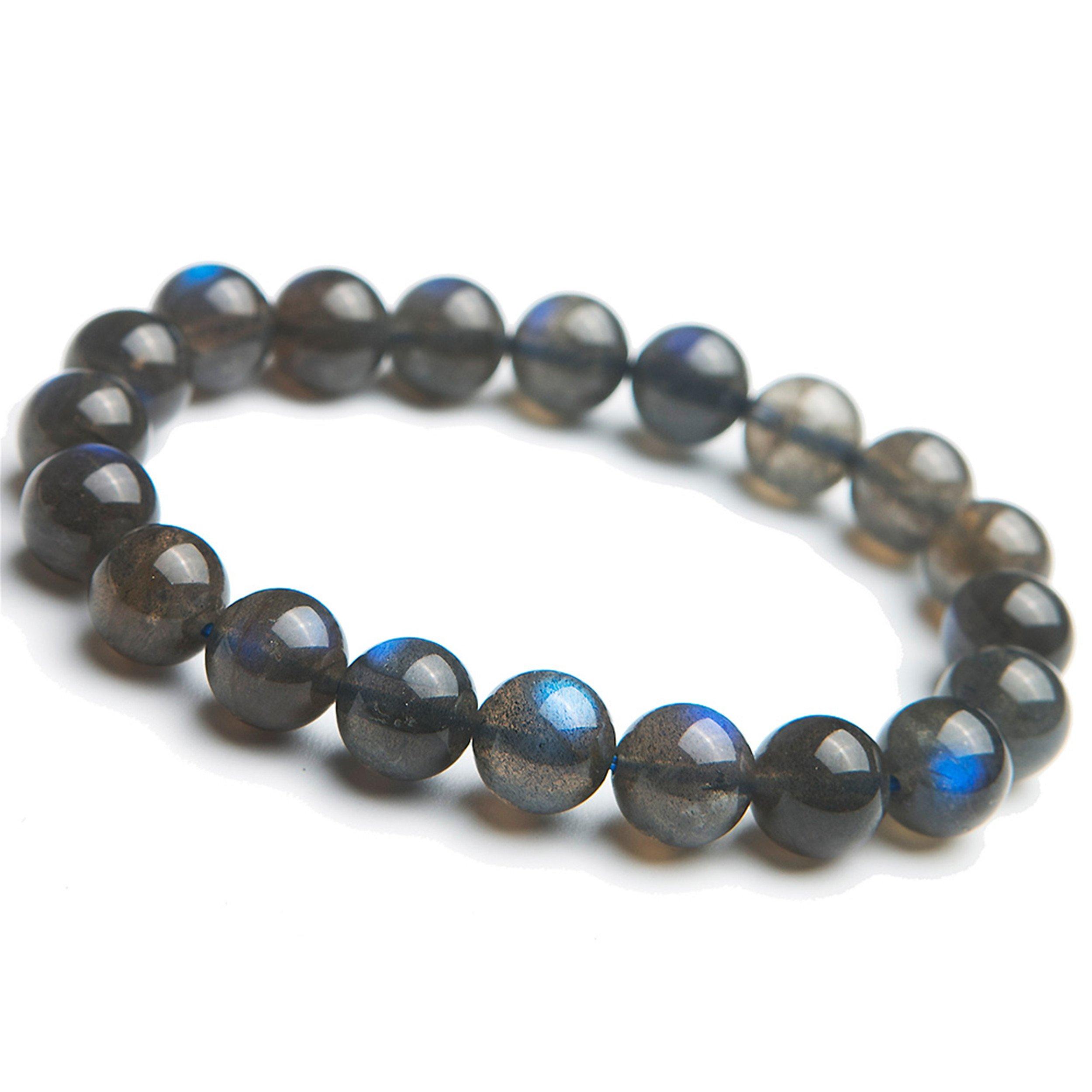 10mm Genuine Strong Blue Lights Natural Labradorite Gemstone Crystal Stretch Round Bead Bracelet