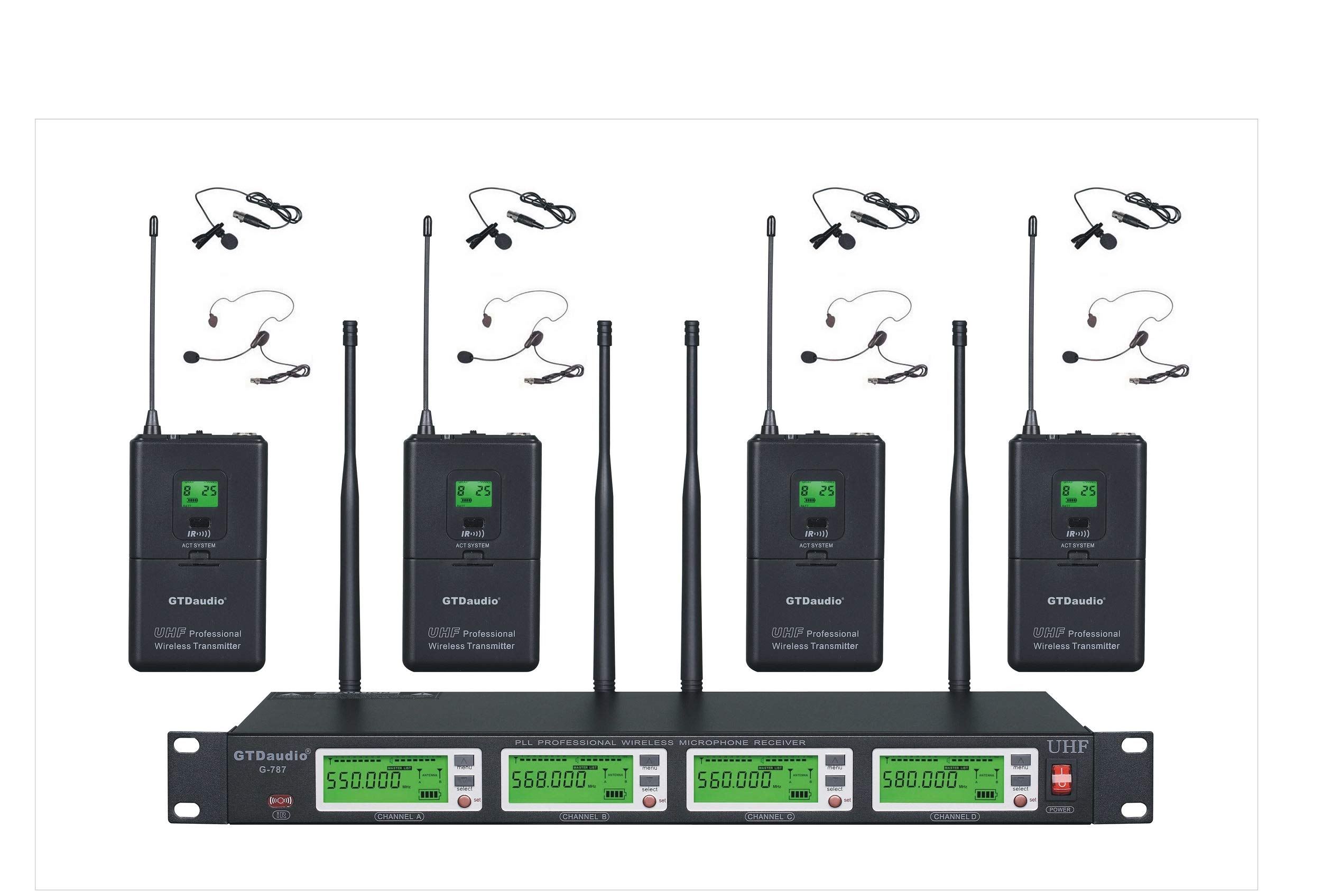 GTD Audio 4x800 Channel Selectable Frequency UHF Diversity Wireless Lavalier/Lapel/Headset Microphone Mic System 787 (4 Lavaliere Mics) by GTDaudio