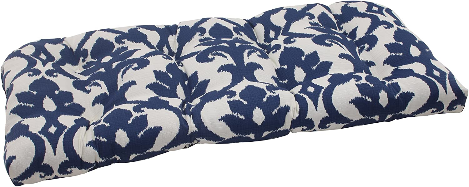 """Pillow Perfect Outdoor/Indoor Basalto Navy Tufted Loveseat Cushion, 44"""" x 19"""", Blue: Home & Kitchen"""