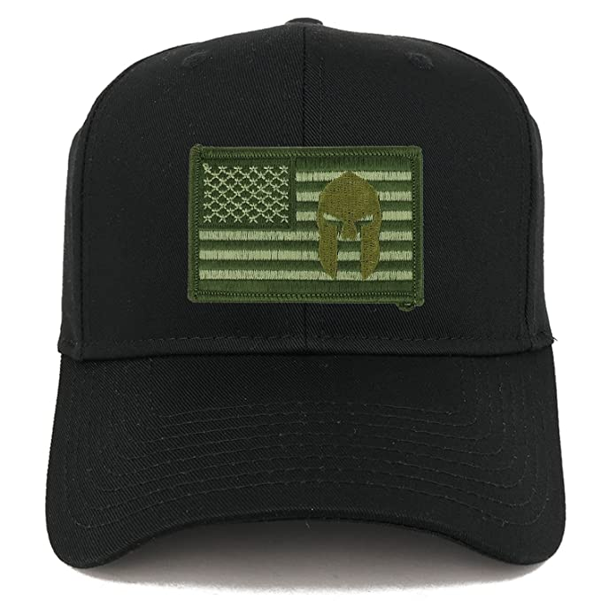 Armycrew Olive USA American Flag Spartan Logo Embroidered Iron On Patch  Snap Back Cap - Black f0c75e37e34