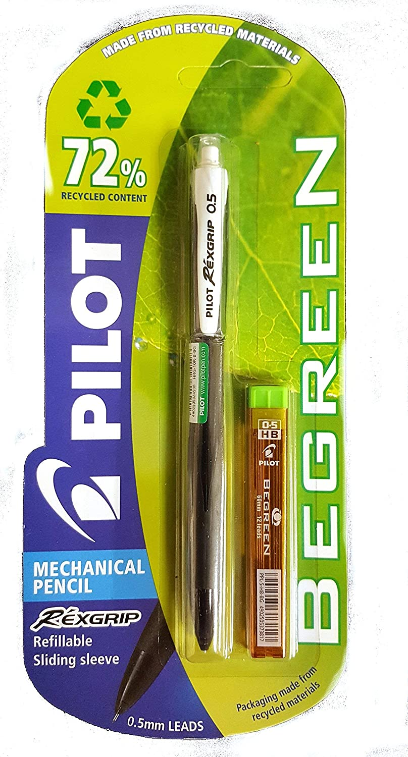 Pilot Rexgrip 0.5 Mechanical Pencil Black Trim with Free Tube 0.5 HB Leads Carded Each