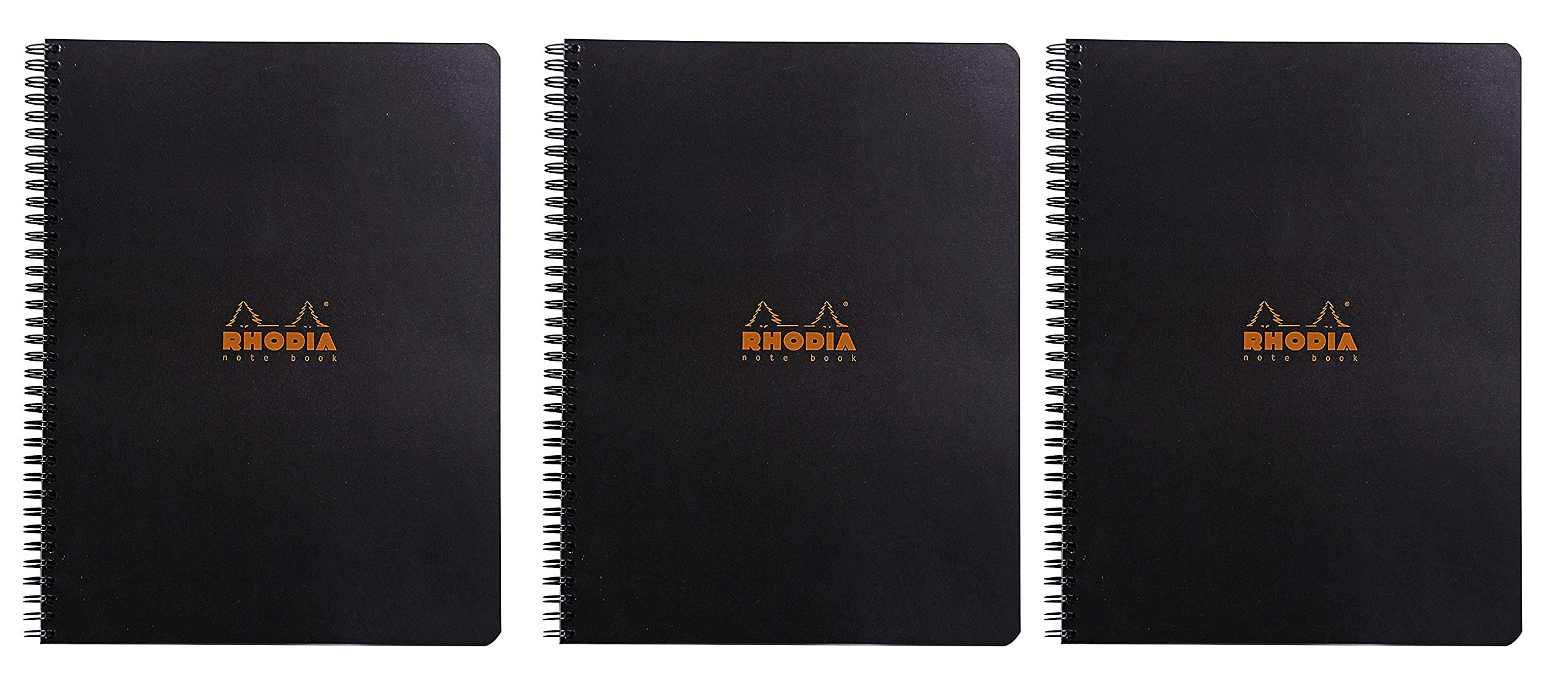 Rhodia Black Graph Notebook 8.25X11.75, Double Spiral, Pack of 3