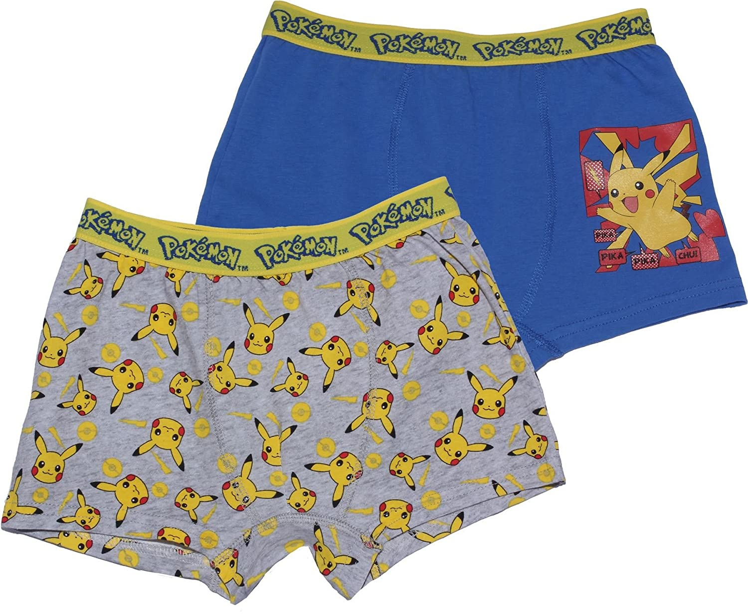Pokemon Two Pack Childrens Boxer Shorts Grey 4-5 Years By BestTrend