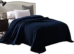 """Exclusivo Mezcla Luxury Queen Size Flannel Velvet Plush Solid Bed Blanket as Bedspread/Coverlet/Bed Cover (90"""" x 90"""", Navy Blue) - Soft, Lightweight, Warm and Cozy"""