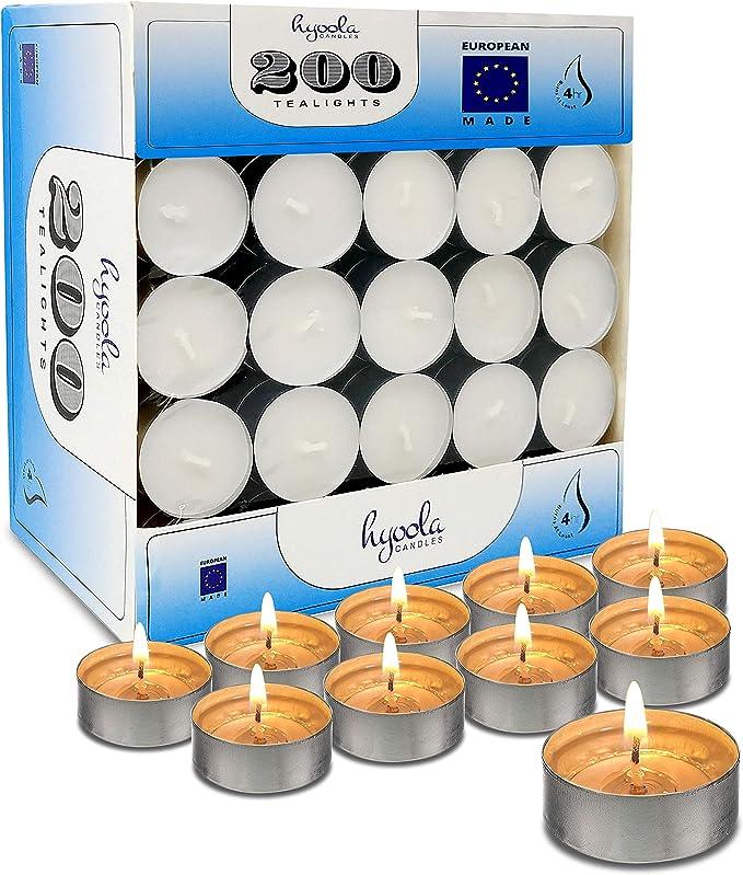 Hyoola Tea Lights Candles 200 Bulk Candles Pack Tea Lights European Made Tealight Candles Home Kitchen