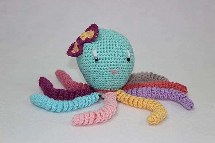 2bbc781a6 Pulpo amigurumi para recién nacido multicolor. Pulpo de ganchillo - crochet  para bebé.
