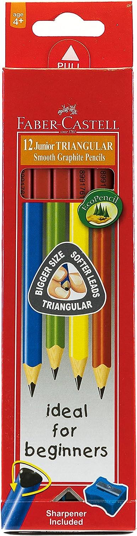 Faber-Castell 116527 - Estuche con 12 ecolápices triangulares tamaño jumbo, multicolor: Amazon.es: Oficina y papelería