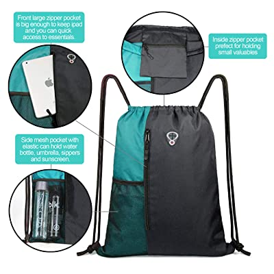 Peicees Drawstring Backpack Sports Gym Bag Cinch Sack with Water Bottle Mesh Pockets for Women Men