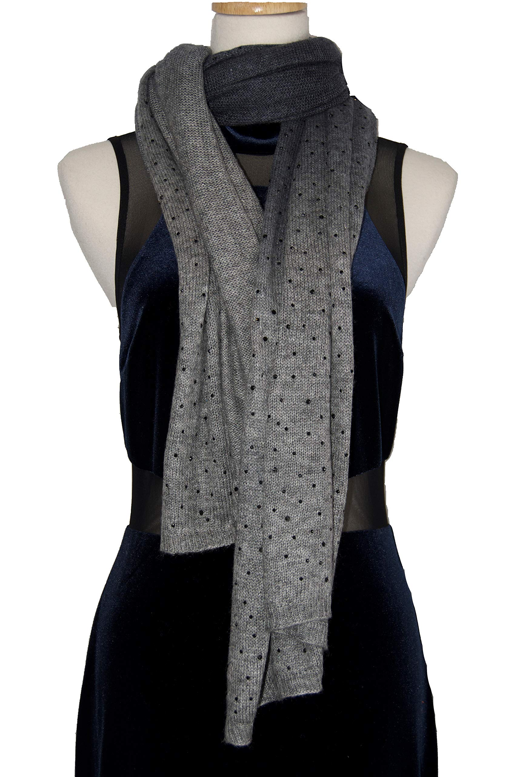 Cashmere Shawl Scarf Handmade 100% Pure Lightweight Oversized (Grey black Crystal)