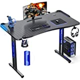 Homemaxs Gaming Computer Desk 47 inch - Ergonomic PC Gaming Desk with LED Lights Cup Holder Headphone Hook Controller Stand f