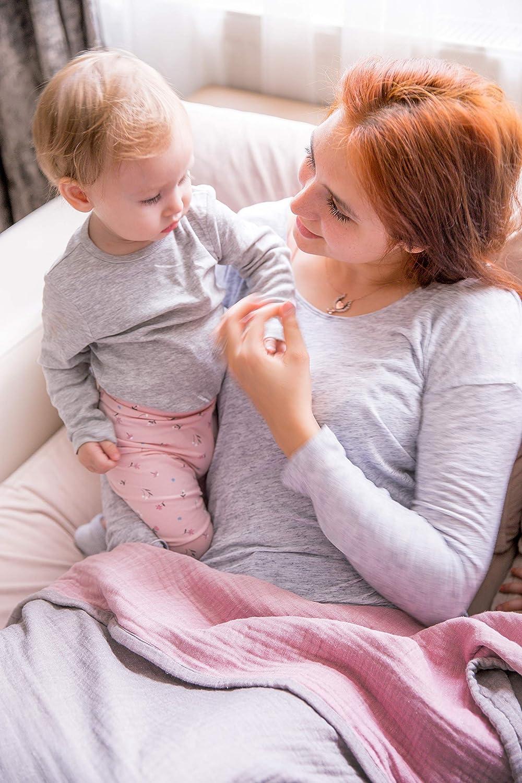 Jacquard Dinosaurs Rose/&Grey 43x47 Baby Shower Registry Gifts Infant Toddler Newborn Unisex Lightweight Baby Blankets for Girls Boys-Mebien Stroller Crib Nursery Bedding Blanket Quilt Swaddle