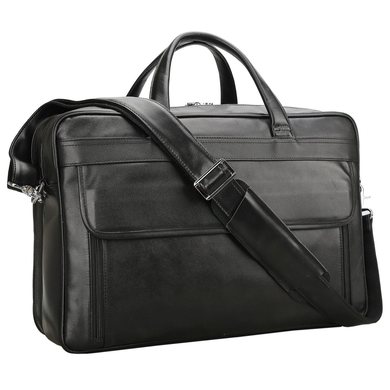 79fecae0773f Polare Men's Real Leather 17'' Briefcase Shoulder Messenger Business Bag