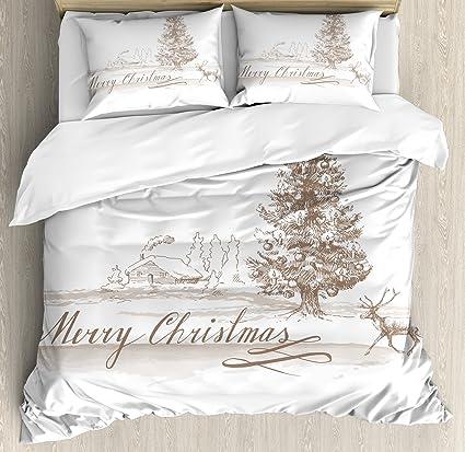 Amazoncom Ambesonne Christmas Duvet Cover Set King Size Romantic